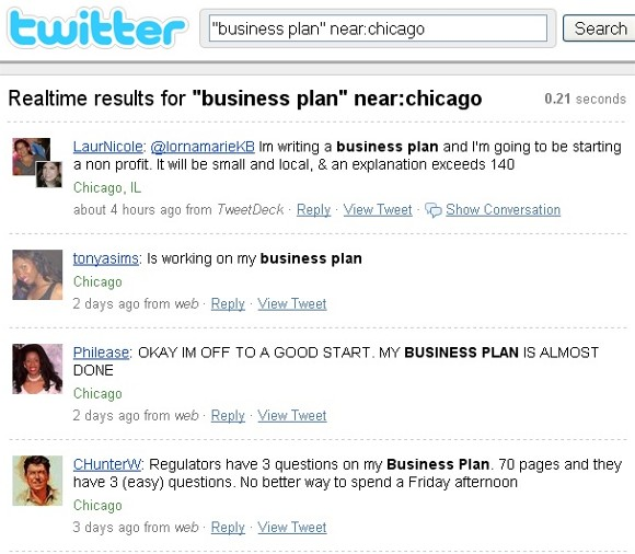 Business plan tweets near Chicago on Twitter