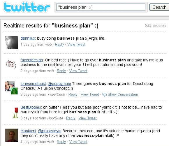 business plan - negative sentiment