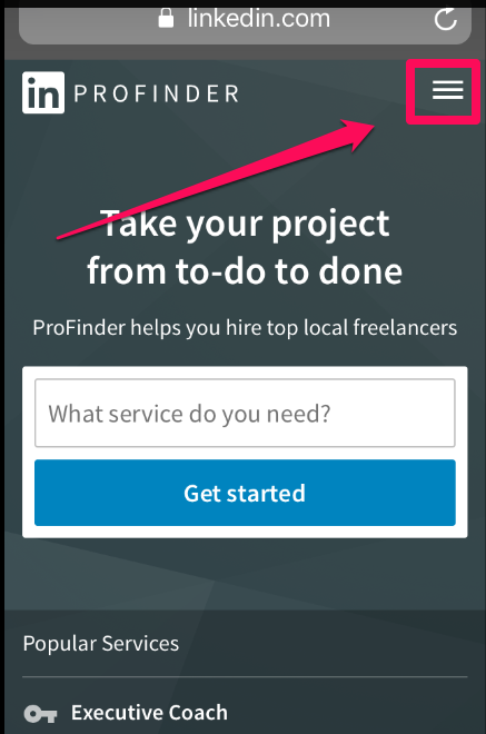 LinkedIn ProFinder for Pros on Mobile