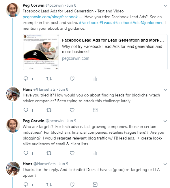 Twitter lead generation ideas, including conversations