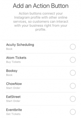 Instagram Call To Action Buttons